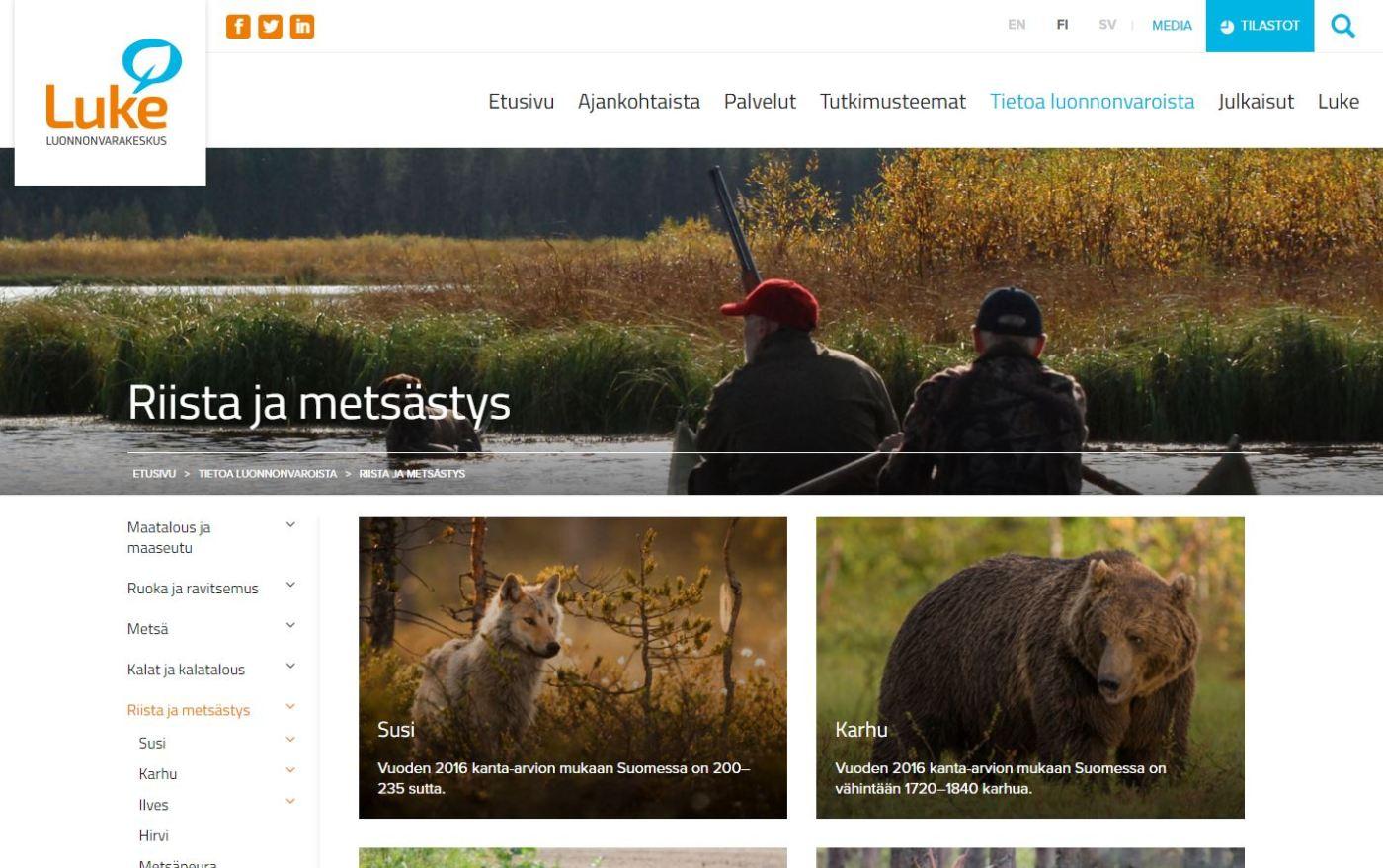 Luke.fi-sivuston sivu Riista ja metsästys