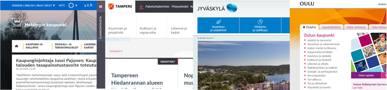 Helsinki-Tampere-Jyväskylä-Oulu: verkkosivustot