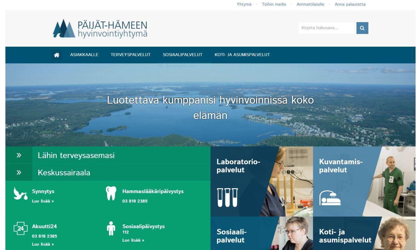Päijät-Hämeen hyvinvointiyhtiön verkkopalvelun etusivu