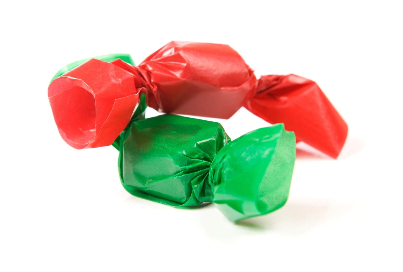 Caramels with Red and Green Wrappers