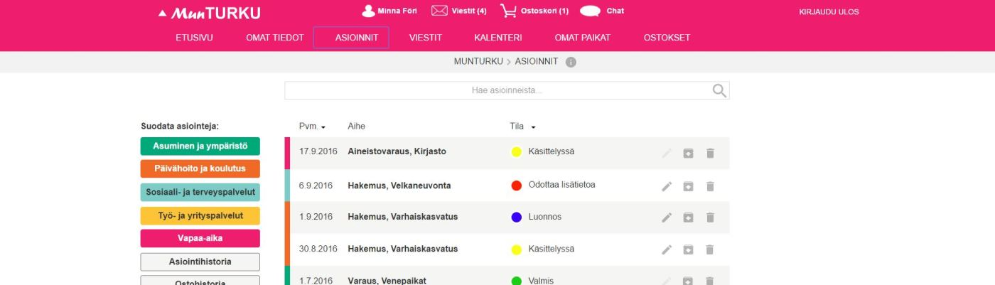 Kuvakaappaus Mun Turku -käyttöliittymästä