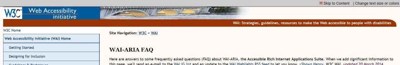 WAI-ARIA-sivuston kuvakaappaus