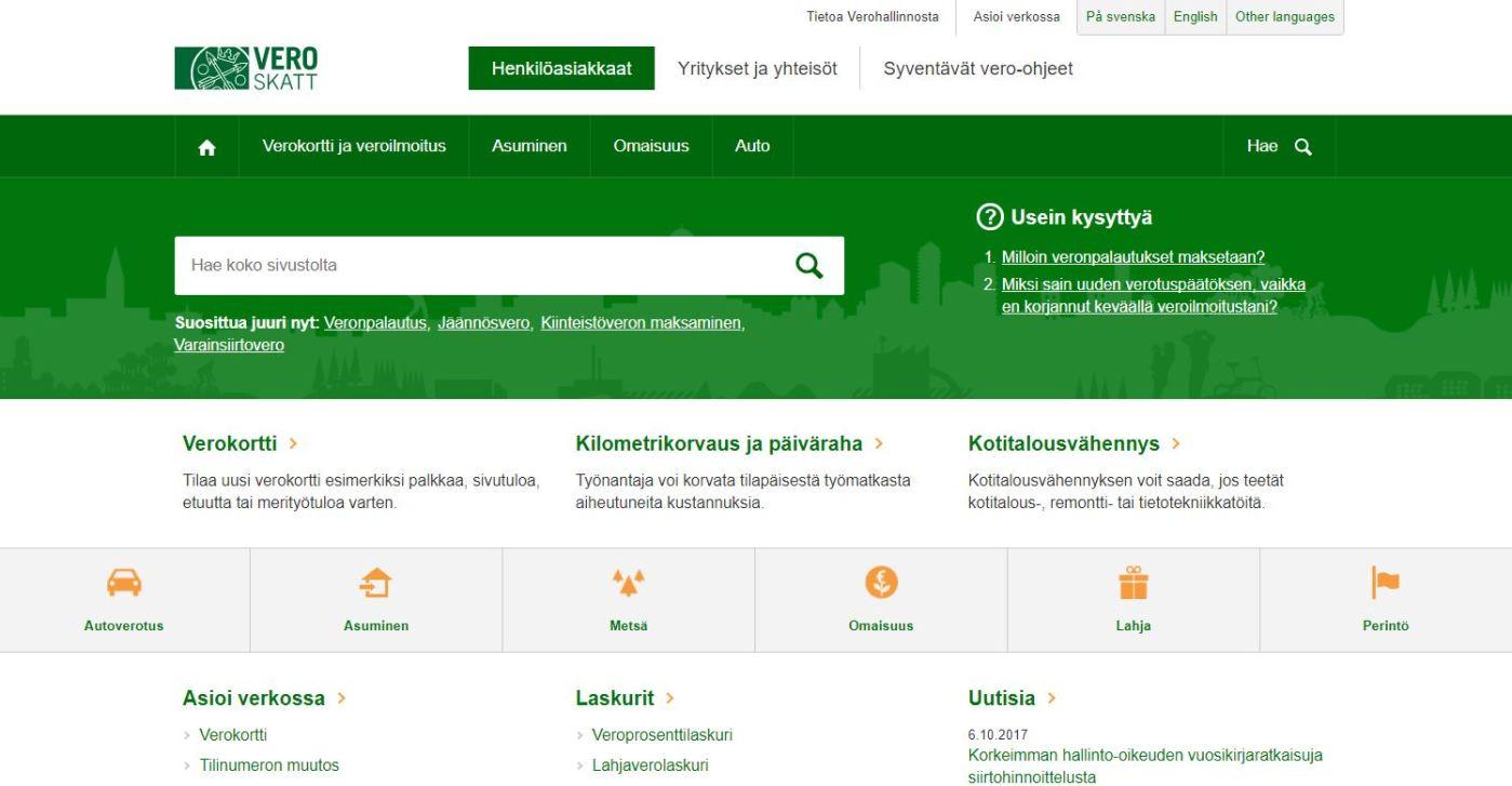 Vero.fi-palvelun etusivu