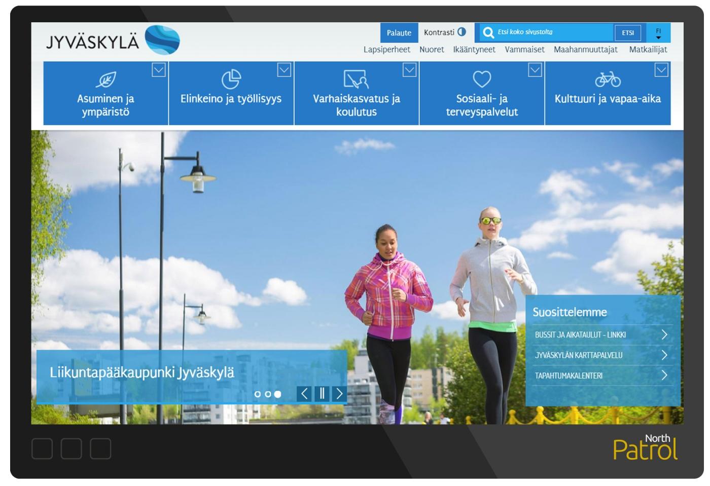 Jyväskylän verkkosivuston etusivulla näkyy iso valikko ja suuri kuvituskuva.