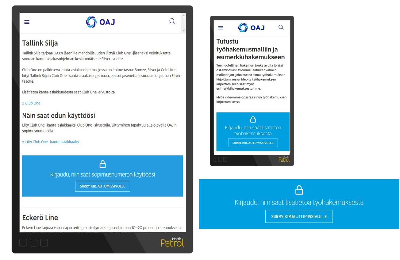 OAJ:n verkkotekstien lomassa näkyy väripalkki, joka kertoo, että sisäänkirjautumalla on saatavilla tarkentavaa jäsensisältöä.