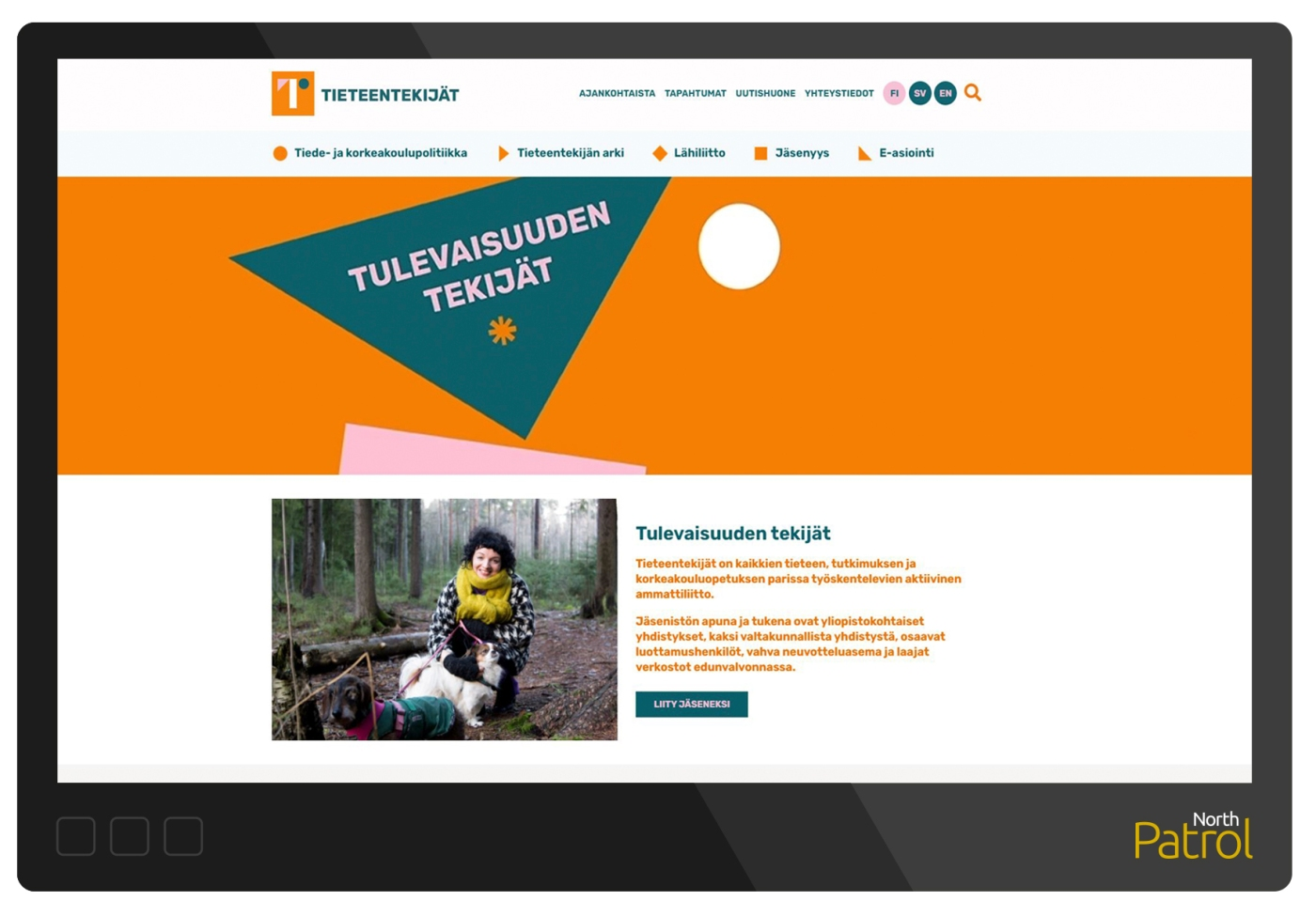 Tieteentekijät.fi -etusivu