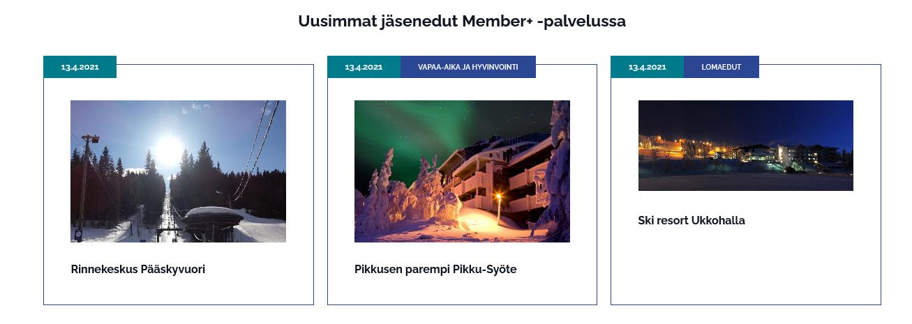 Kolme nostoa jäsenpalveluista, esimerkiksi Rinnekeskus Pääskyvuori.